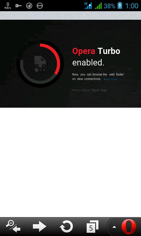 mengaktipkan Mode penghematan data opera turbo, pada opera mini dan